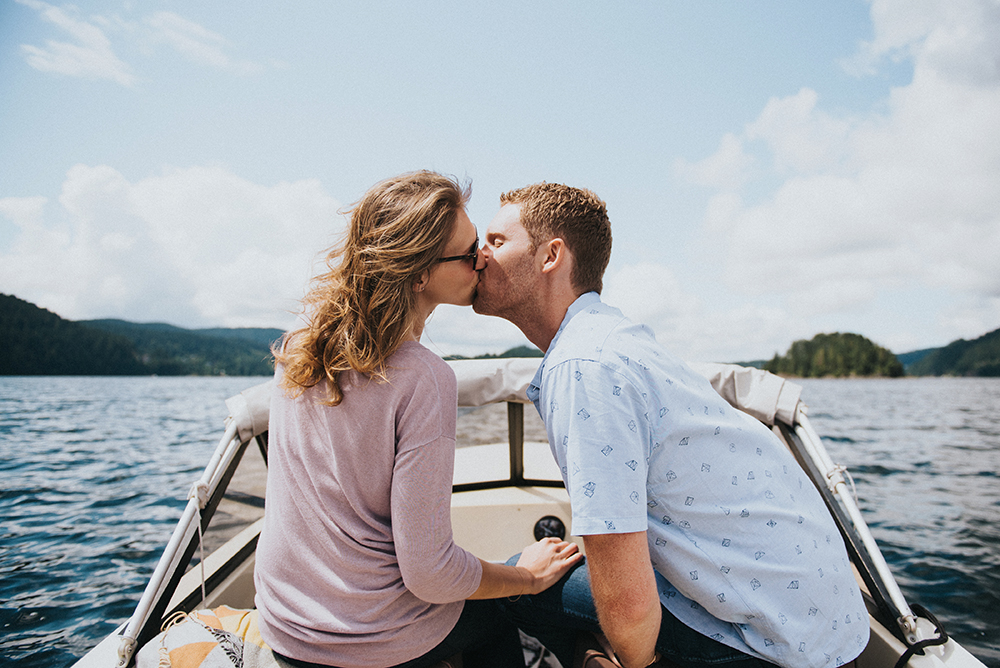 deep cove boat engagement session Vancouver wedding photographer