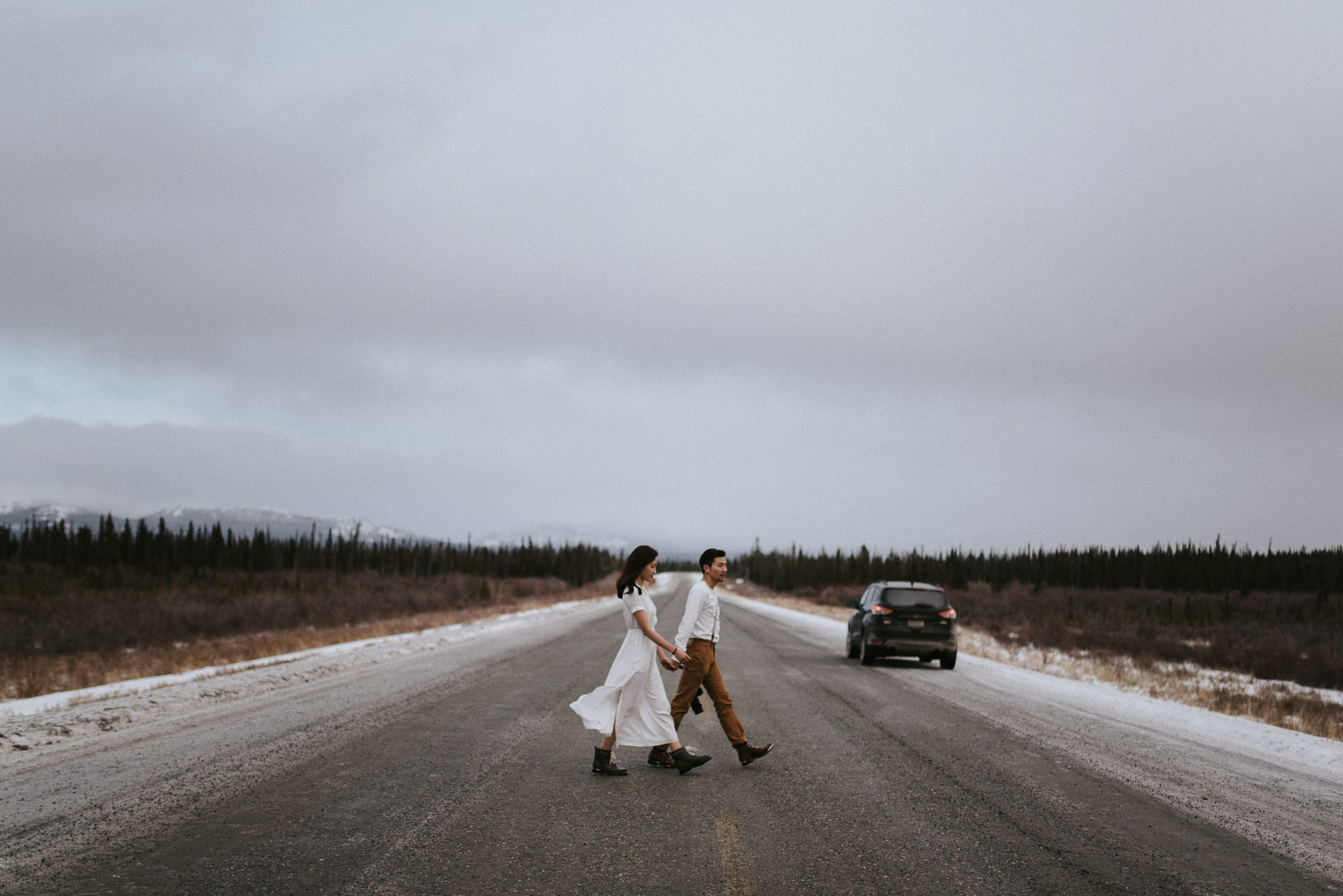 Alaskan highway engagement shoot