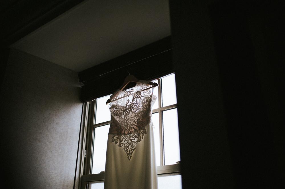 wedding dress on window