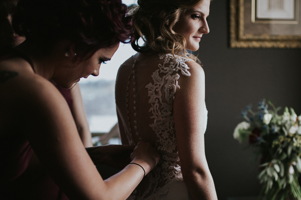 bride getting ready lace detail