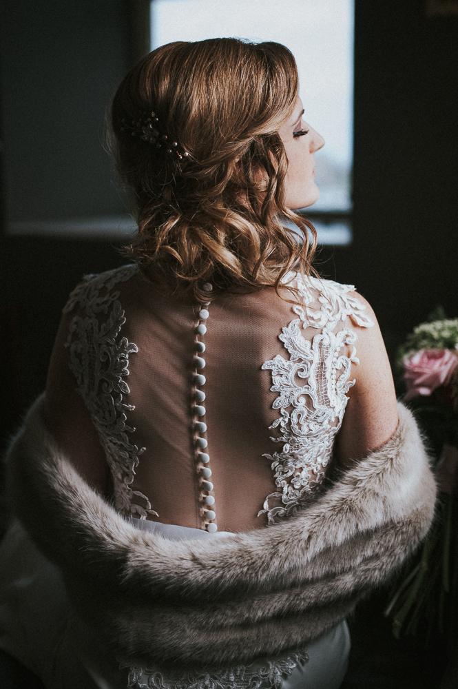 bride wedding dress back detail