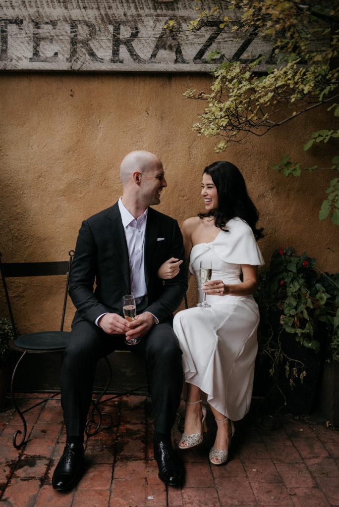 bride and groom at bonterra Calgary wedding