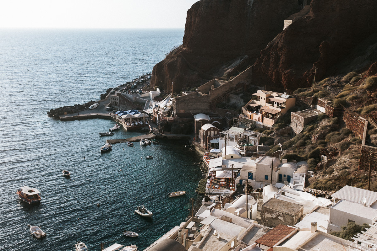 view of the ammoudi bay in Santorini Greece