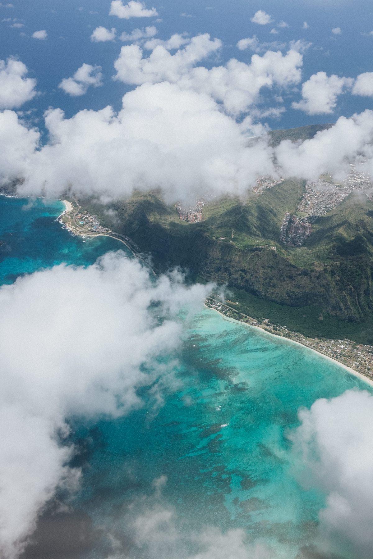 flying over Oahu Hawaii
