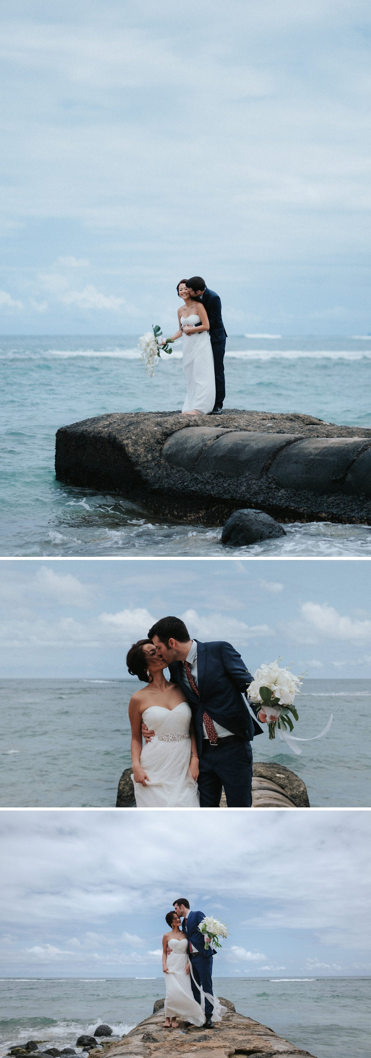 Bride and groom portrait in Hawaii