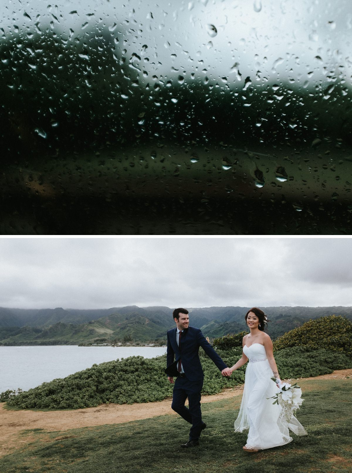 Bride and groom walking on the coast of Hawaii with mountains in the background