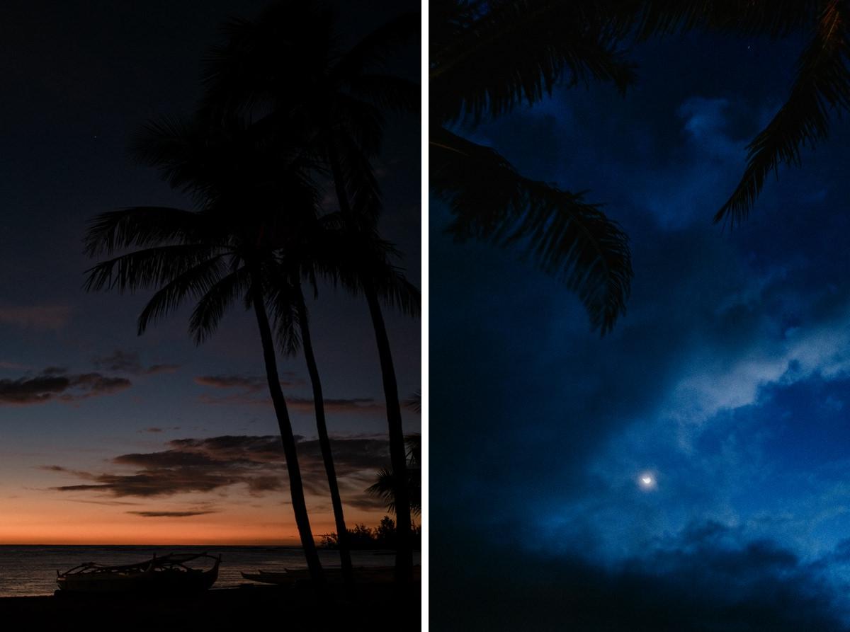 Hawaii sunset and Hawaii moonlight sky