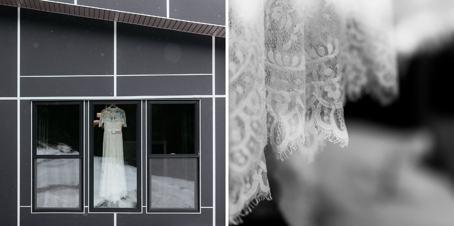wedding dress on the window