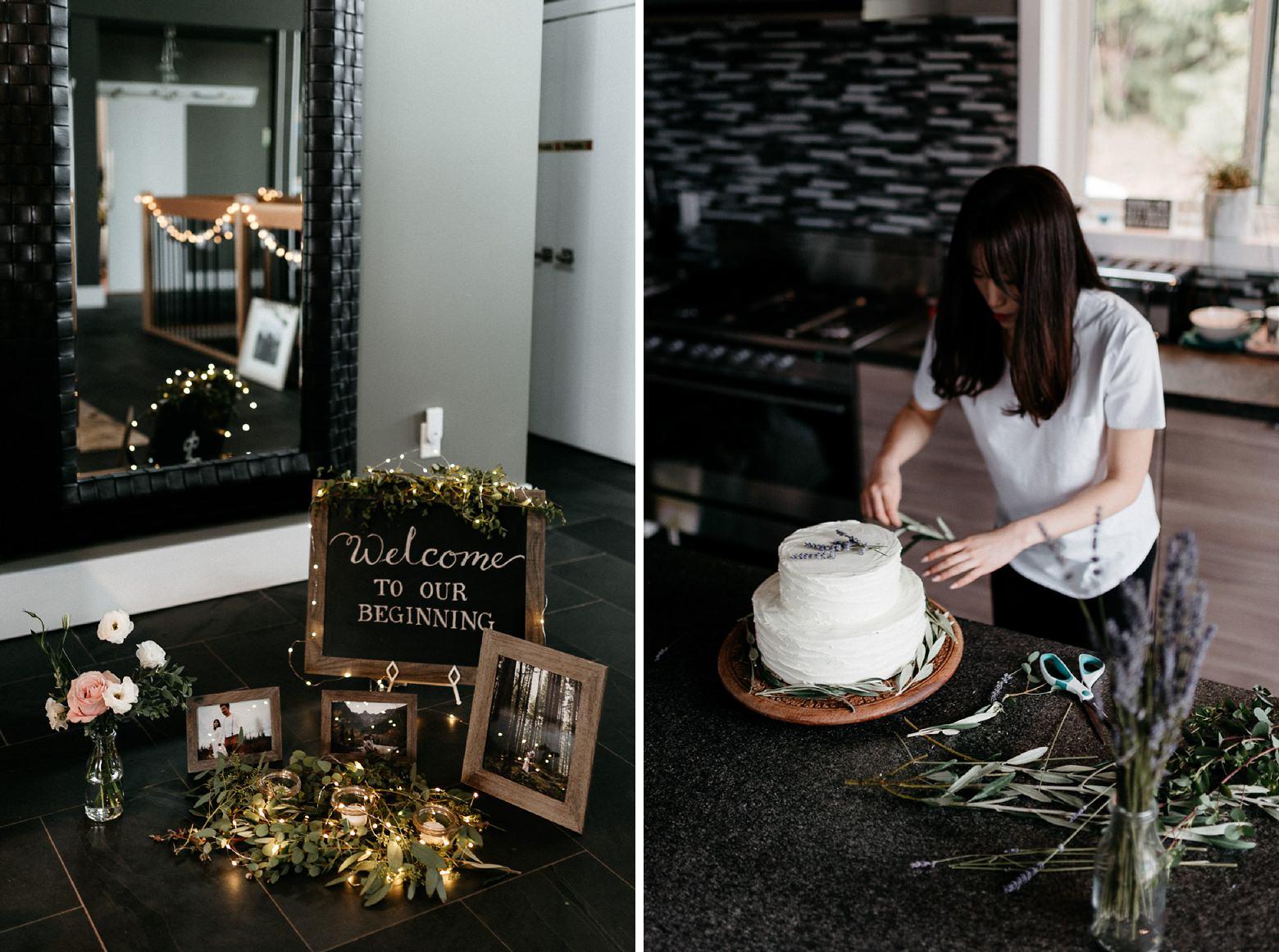 DIY wedding decoration cake and flowers