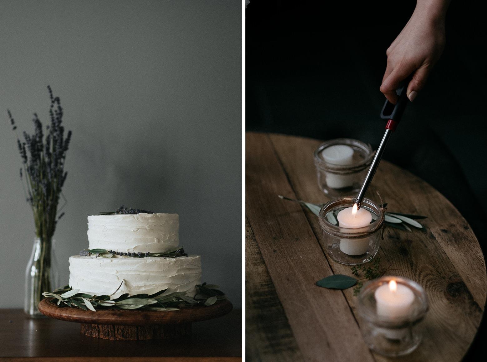 lavender decorated wedding cake