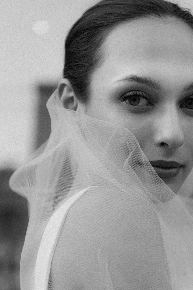 classic timeless bridal portrait black and white